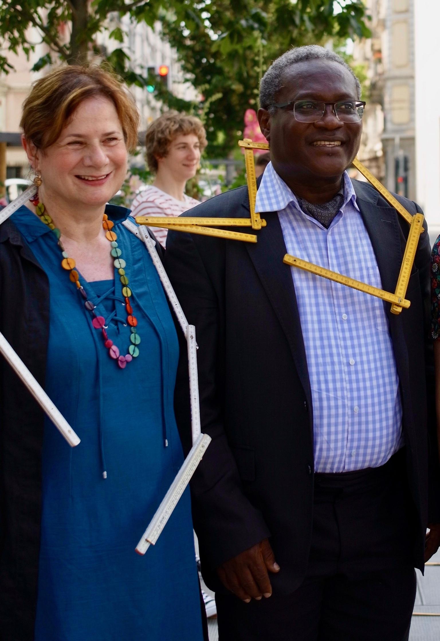 Esther Alder : conseillère administrative ville de Genève et Laurent Jimaja : maire du Grand-Saconnex sont venus relever le défi coopératif «Tu m'as vu?»
